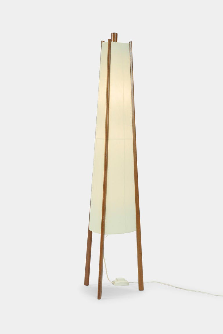 Swiss Floor Lamp Walnut, 1950s For Sale 3