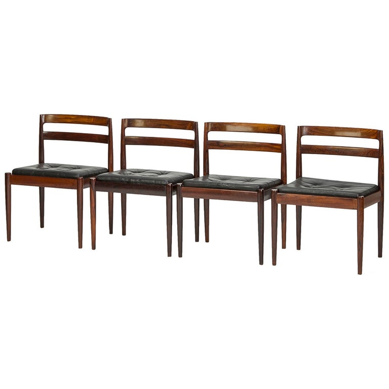 "Set of Four Rosewood Chairs ""Universe 301"" by Kai Kristiansen For Sale"