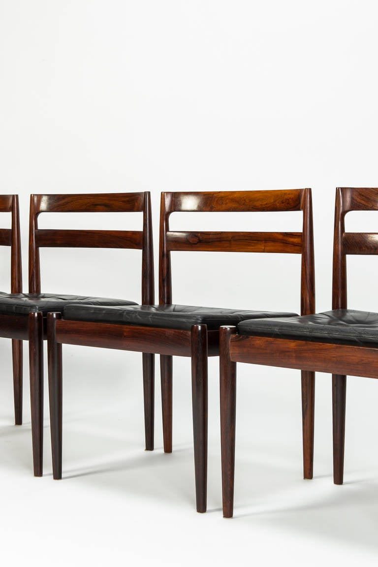 Mid-Century Modern Set of Four Rosewood Chairs