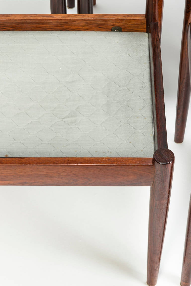 Leather Set of Four Rosewood Chairs
