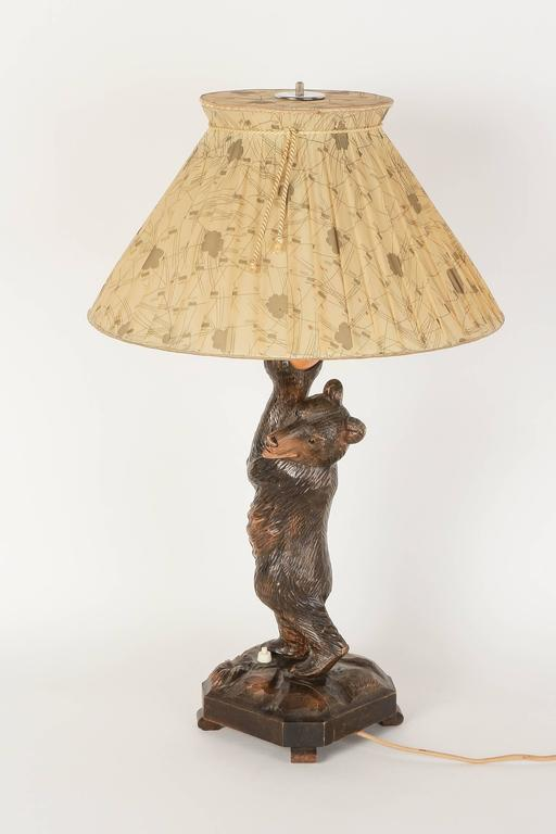 German Black Forest Hand Carved Bear Table Lamp From The 1940s. Original  Lampshade,
