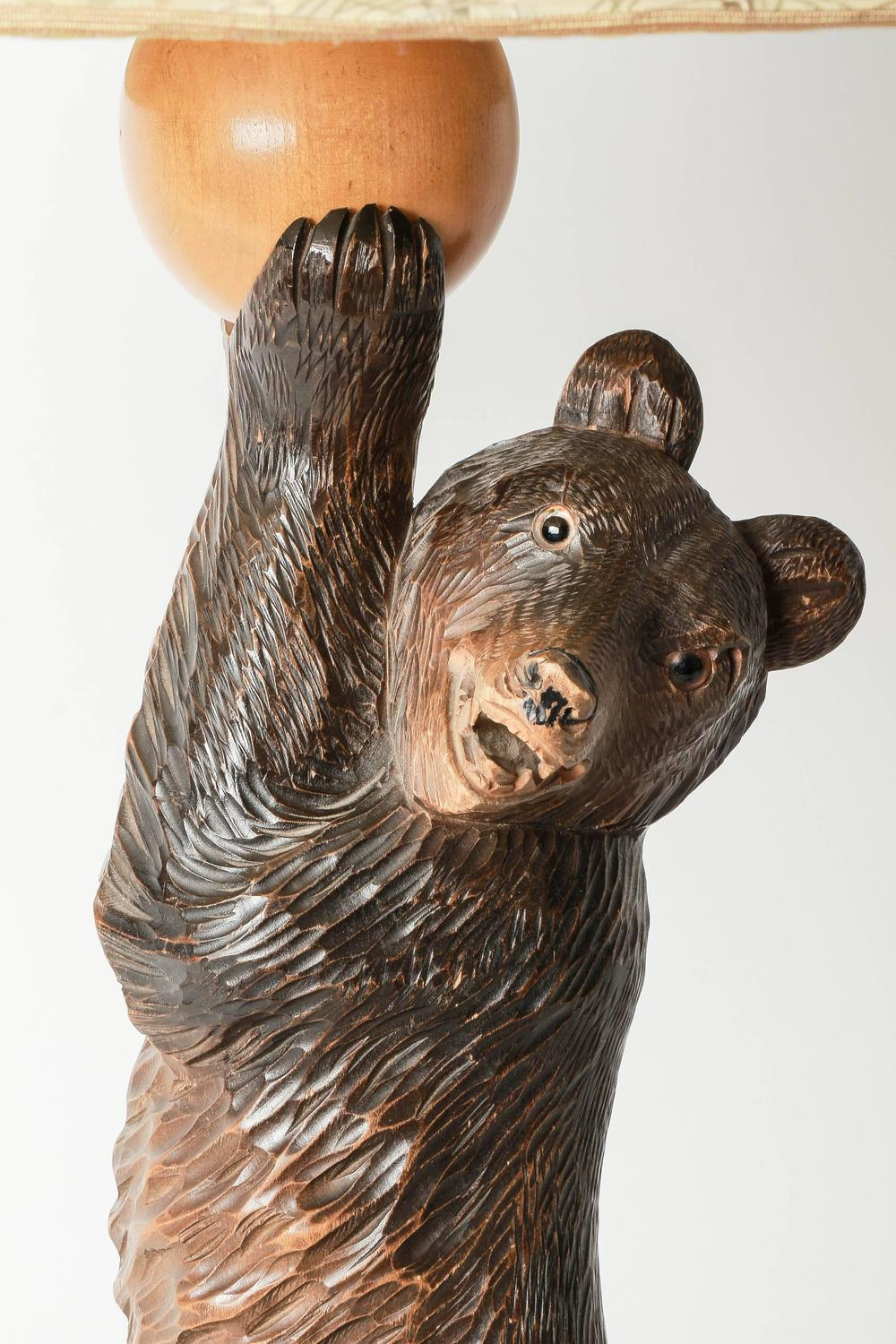 German Black Forest Hand Carved Bear Table Lamp 1940s For