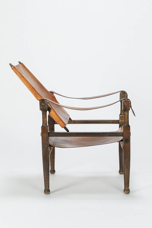 Early 20th Century Pair of Swiss Wilhelm Kienzle Safari Chairs Leather, 1950s For Sale