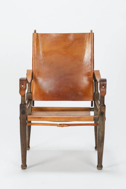 Pair of Swiss Wilhelm Kienzle Safari Chairs Leather, 1950s In Good Condition For Sale In Basel, CH