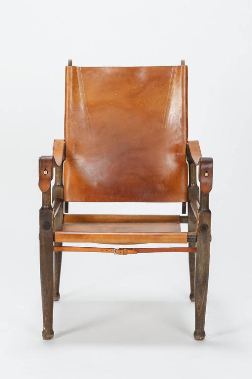 Pair of Swiss Wilhelm Kienzle Safari Chairs Leather, 1950s 5