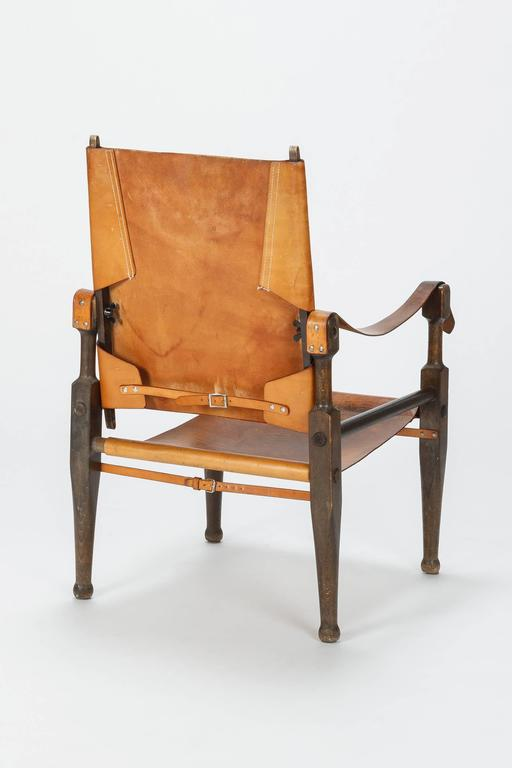 Pair of Swiss Wilhelm Kienzle Safari Chairs Leather, 1950s For Sale 1