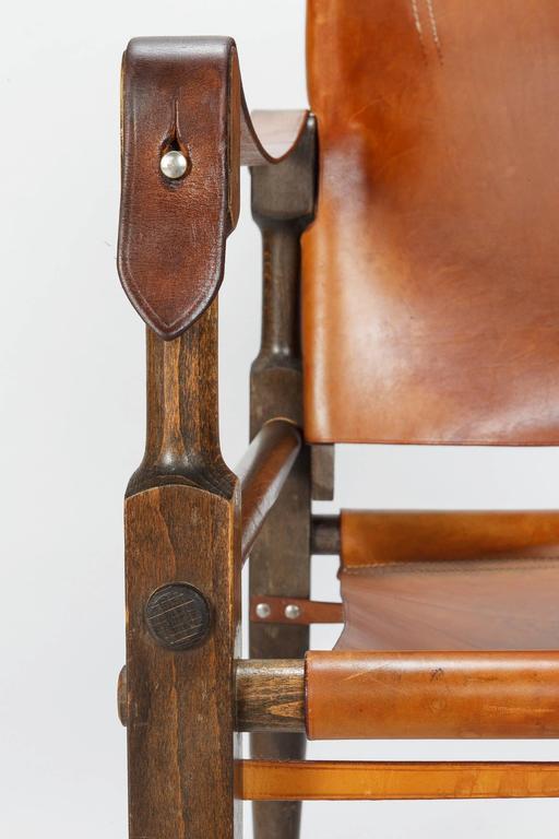 Pair of Swiss Wilhelm Kienzle Safari Chairs Leather, 1950s For Sale 2
