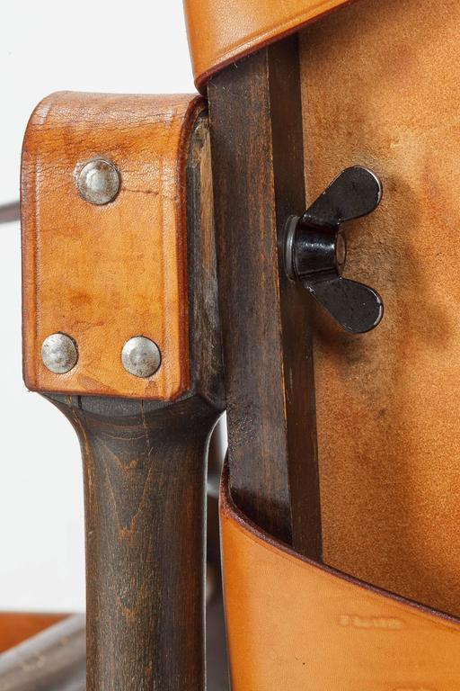 Pair of Swiss Wilhelm Kienzle Safari Chairs Leather, 1950s For Sale 3