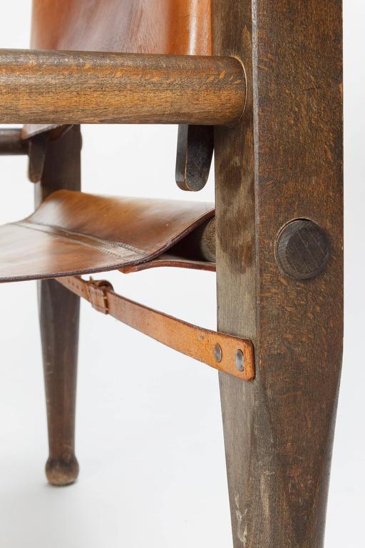 Pair of Swiss Wilhelm Kienzle Safari Chairs Leather, 1950s 10
