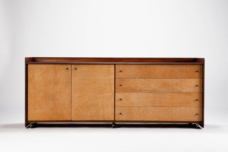 Sideboard from Afra & Tobia Scarpa manufactured by Maxalto in Italy in the 1980s. Very rare rosewood sideboard with suede front. The beautiful back makes it an ideal rom divider.