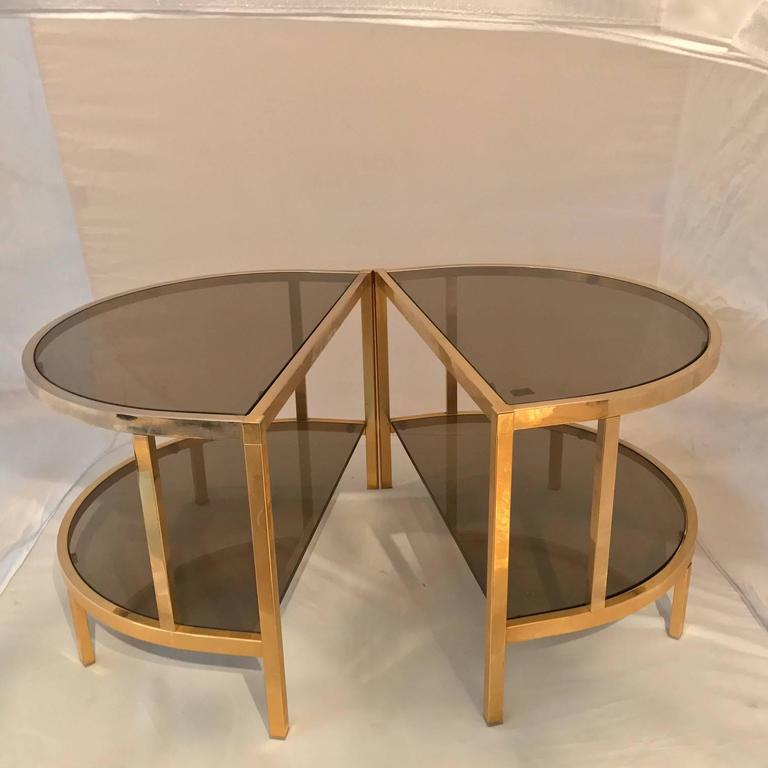 Coffee table or pair of side tables in 24 carat gold plated metal belgium at 1stdibs Gold metal coffee table