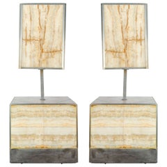 Rare of Pair of Lamps with Table, 1970s Italian by Tommaso Barbi