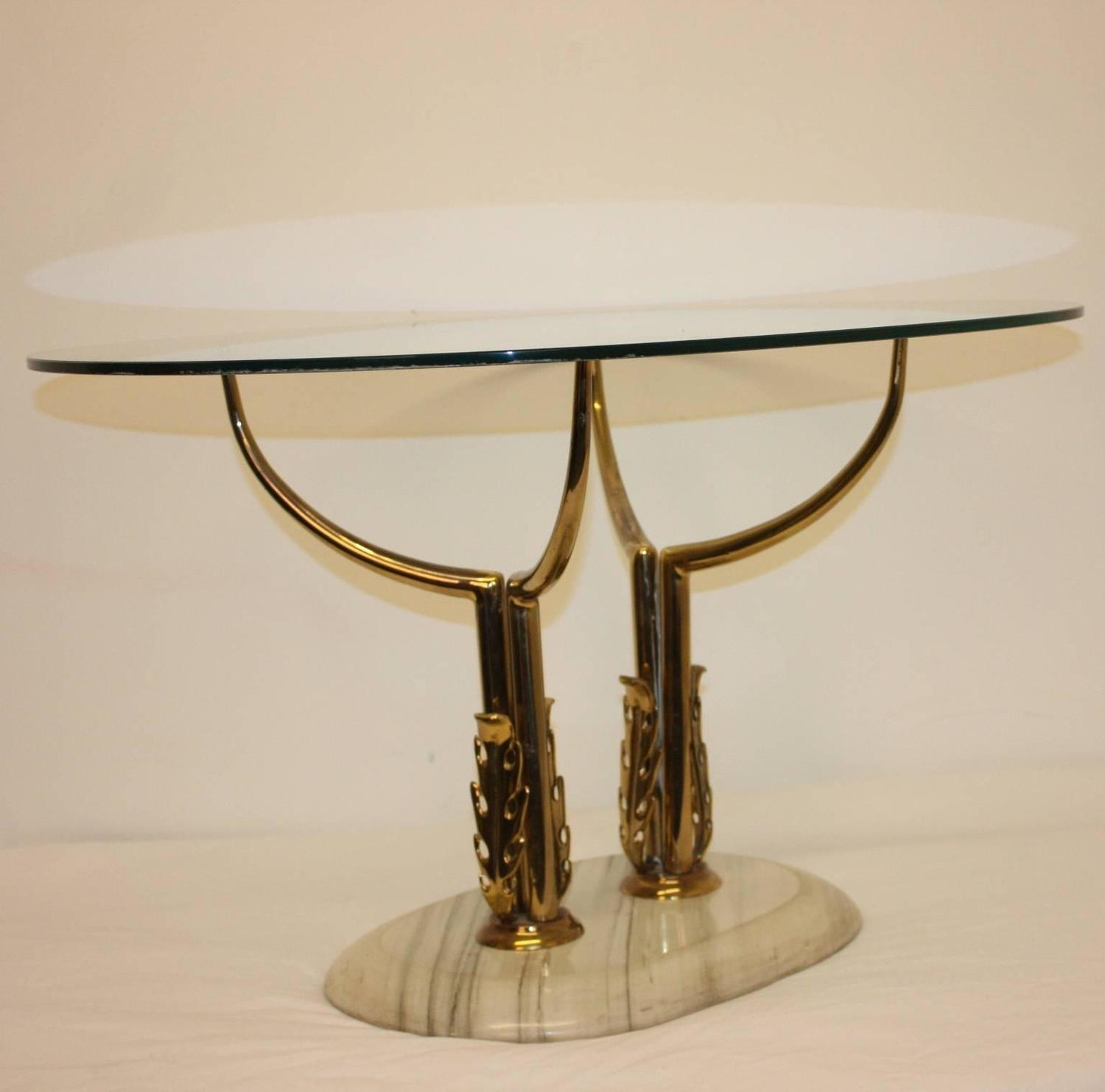 1960s Italian Brass, Marble And Glass Coffee Table At 1stdibs