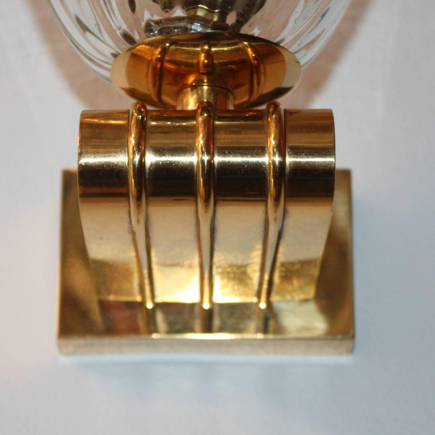 Pair of Wall Lights Brass and Glass by Barovier, Italian, 1940s at 1stdibs