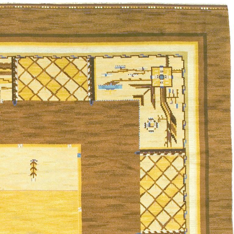Early 20th century Swedish Pile-Weave Carpet by Martha Gahn Sweden, ca. 1920 Handwoven Initialed: MG (Märtha Gahn)