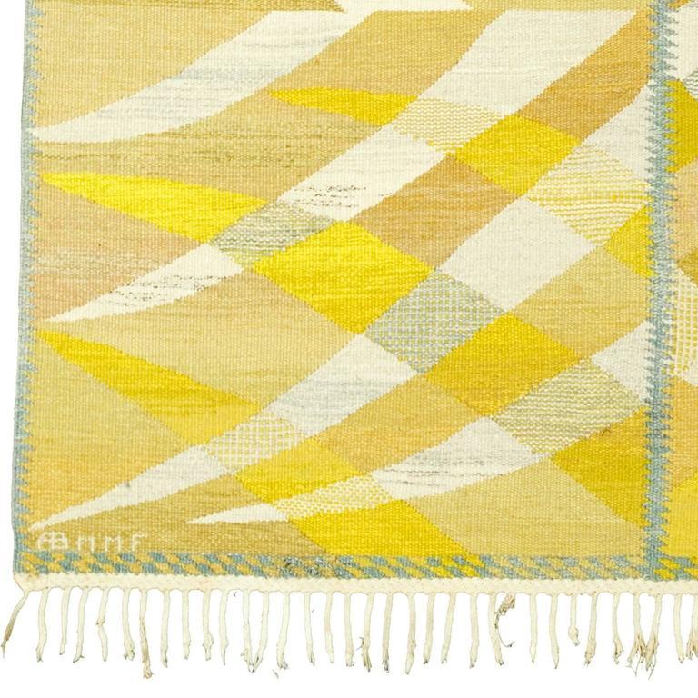 """""""Paula, Gul."""" Swedish Flat-Weave Carpet Sweden, ca. 1964 Initialed: AB MMF, BN (AB Märta Måås-Fjetterström, Barbro Nilsson)"""
