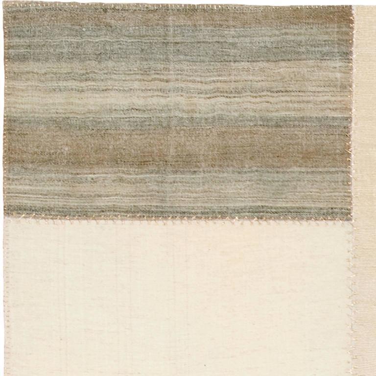 Vintage kilim composition - Modernistic design. Turkish wool, hemp, linen and cotton panels.