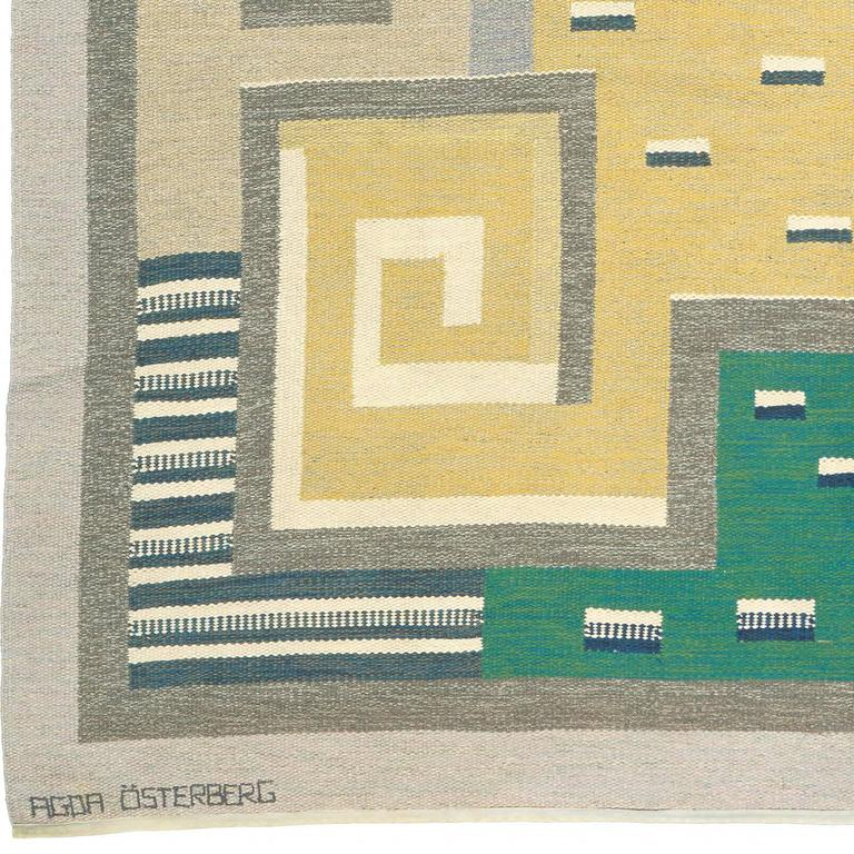 "20th century Swedish flat-weave carpet Initialed ""AO"" Agda Osterberg."