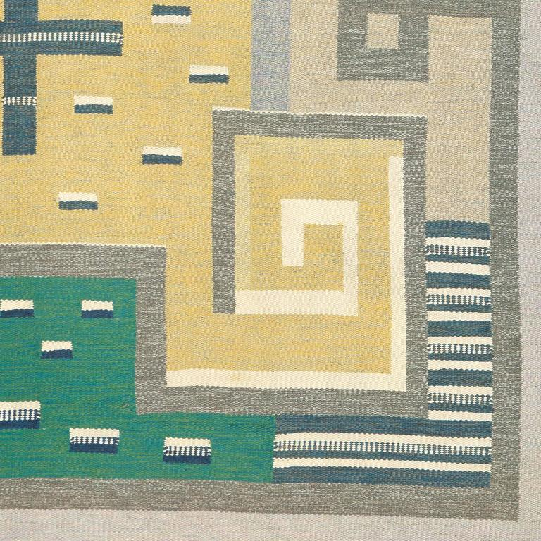 Scandinavian Modern 20th Century Swedish Flat-Weave Carpet by Agda Osterberg For Sale
