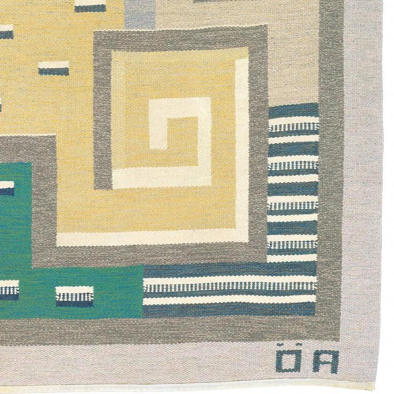 Hand-Woven 20th Century Swedish Flat-Weave Carpet by Agda Osterberg For Sale