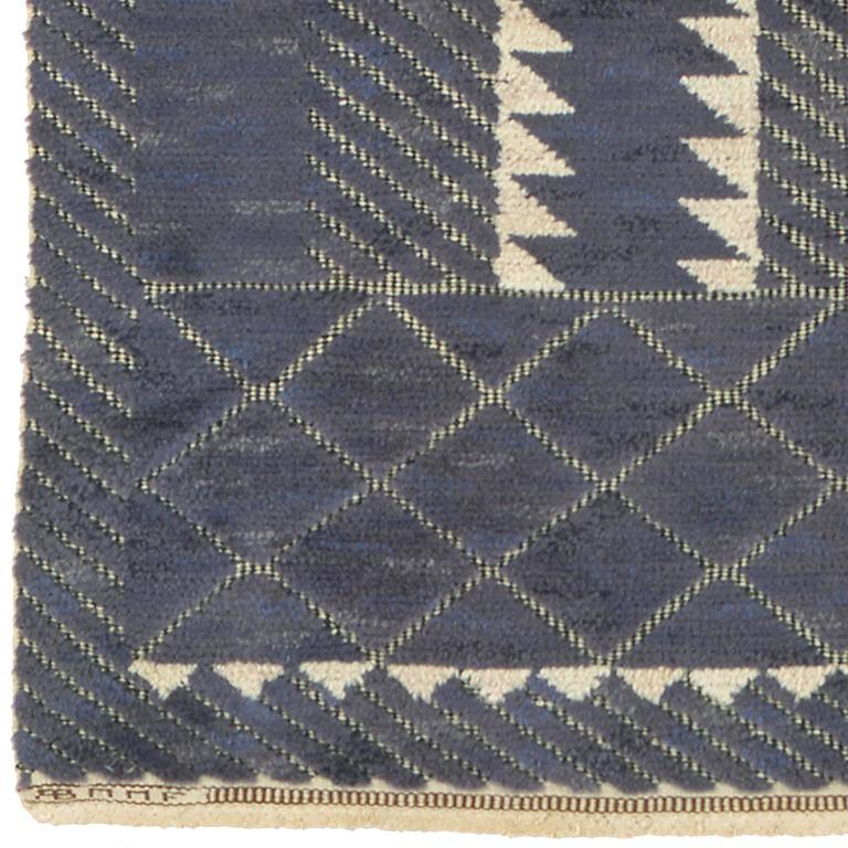 Swedish pile and flat weave carpet.