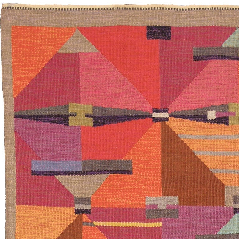20th Century Swedish Flat-Weave Carpet by Agda Osterberg, 1960 For Sale