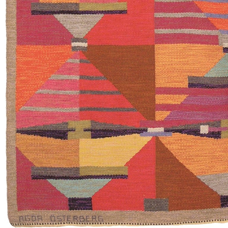 """Swedish flat-weave Carpet by Agda Osterberg, 1960 Sweden, circa 1960 Handwoven Signed """"Agda Osterberg"""" and with the initials """"A.O."""""""