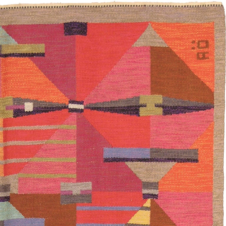 Hand-Woven Swedish Flat-Weave Carpet by Agda Osterberg, 1960 For Sale