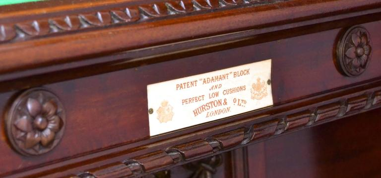 This 12ft x 6ft  imposing decorative full size mahogany billiard - snooker table is made from Cuban mahogany, and features tasteful carved sections to the frame, legs and cushion friezes.  The table was made by John Thurston in 1894 (original bill