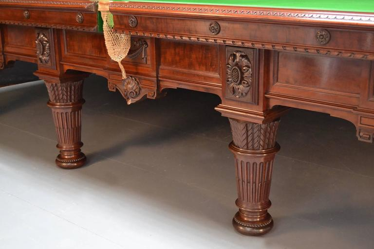 Victorian Billiard snooker pool table carved mahogany victorian 1894 english antique  For Sale