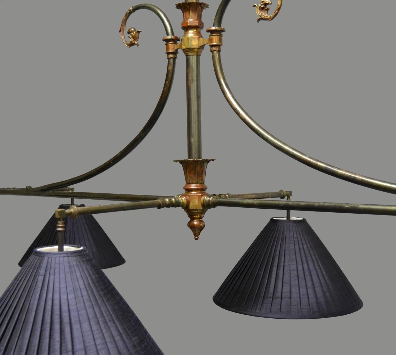 Elegant Brass Framed Antique Billiard, Snooker, Pool Table