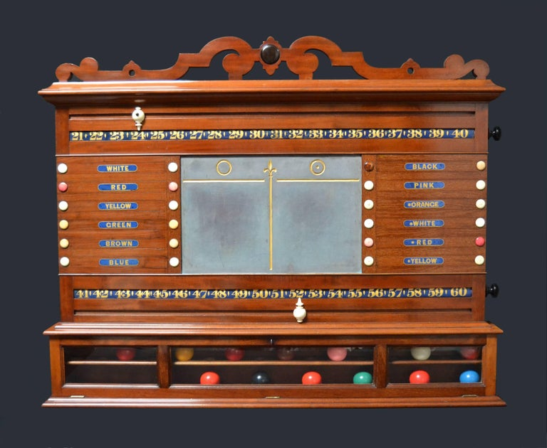 A beautifully made mahogany combination scoring cabinet circa 1870 with facility to score Billiards, snooker and life pool, central slate panel with fleur-de-lis, flanked by revolving number bars and lettered life pool panels with inlaid ebony and