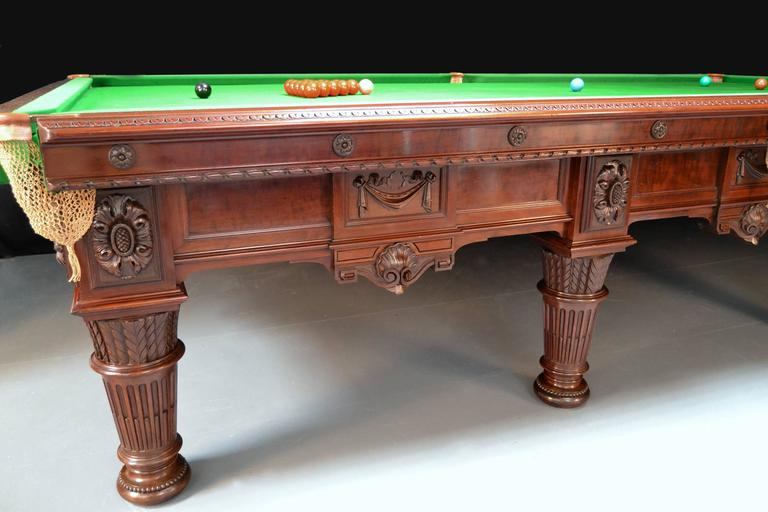 Billiard snooker pool table carved mahogany victorian 1894 english antique  In Excellent Condition For Sale In Chilcompton, Radstock