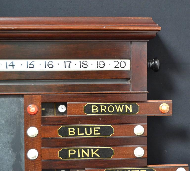 English A billiard snooker life pool scorer marker circa 1860 english victorian mahogany For Sale