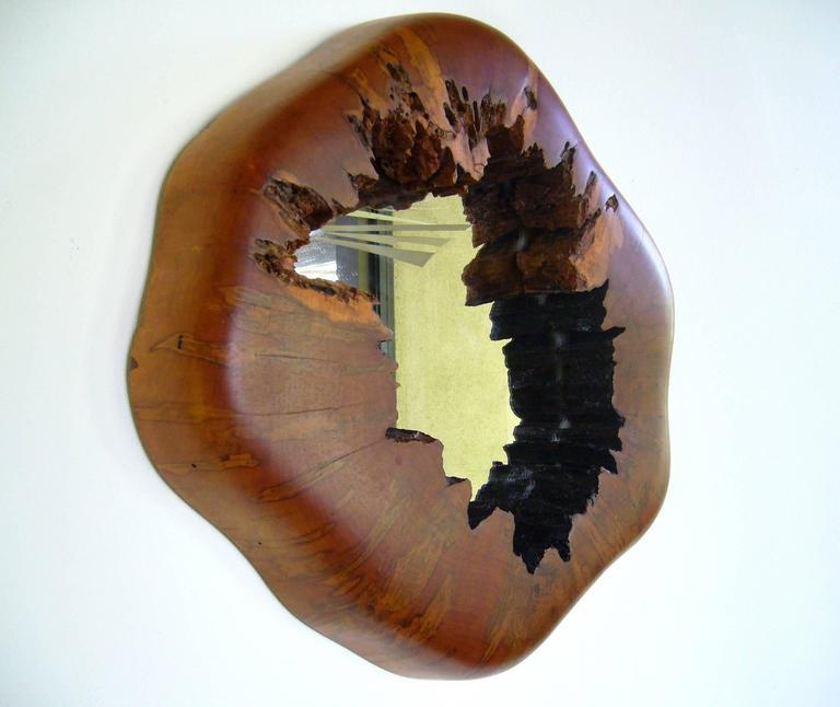 1970s Burl Wood Live Edge Wall Mirror 2