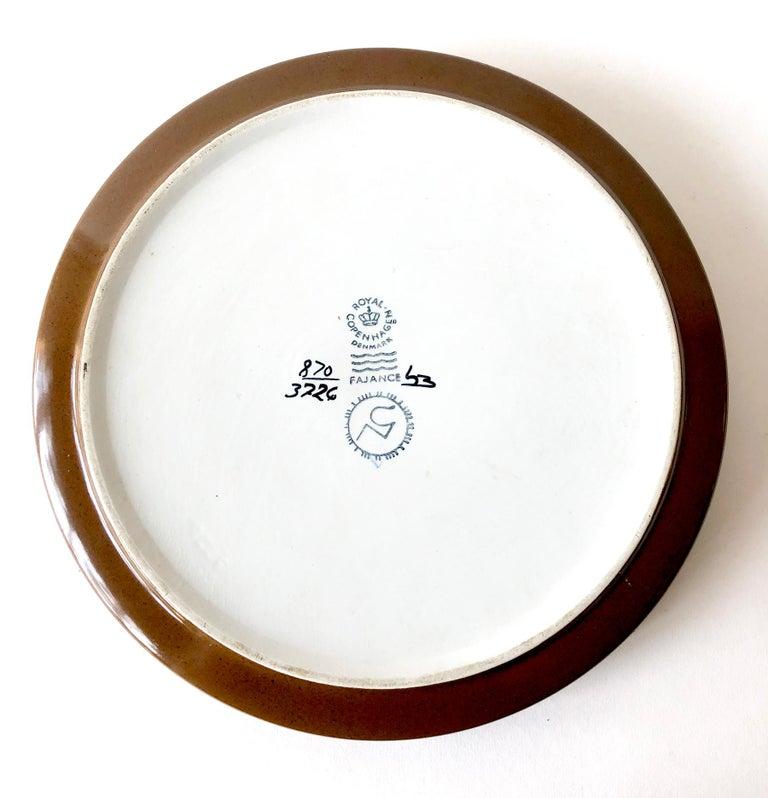 Mid-Century Modern Nils Thorsson Royal Copenhagen Danish Modern Faience Porcelain Low Open Bowl For Sale