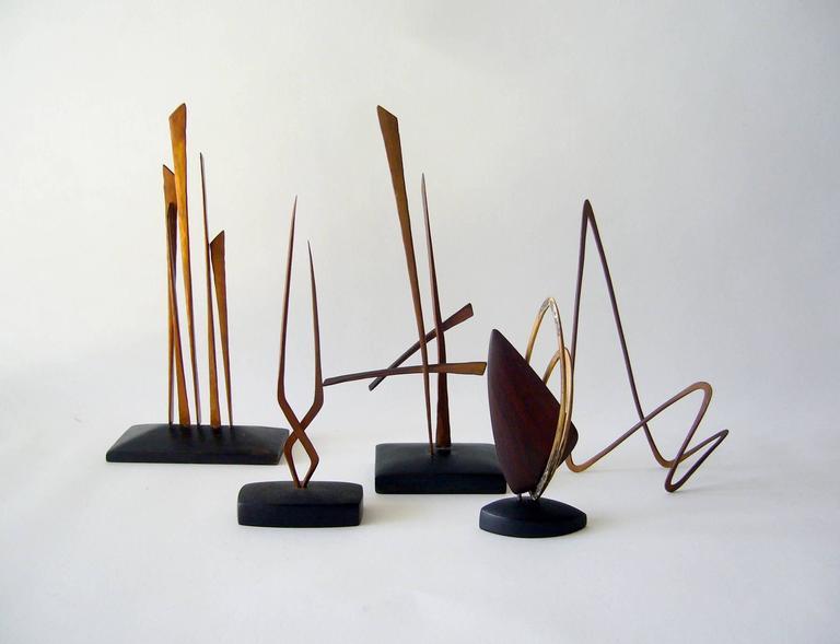 American Jack Nutting Handmade Copper Wood California Modernist Studio Sculpture For Sale