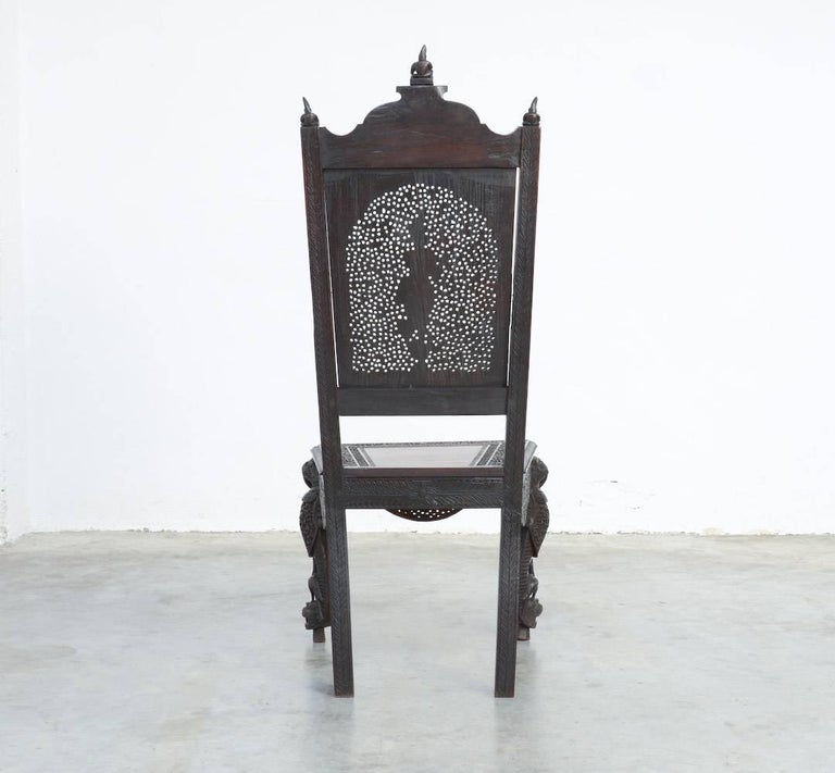 South Asian Extraordinary Anglo-Indian Carved Chair For Sale