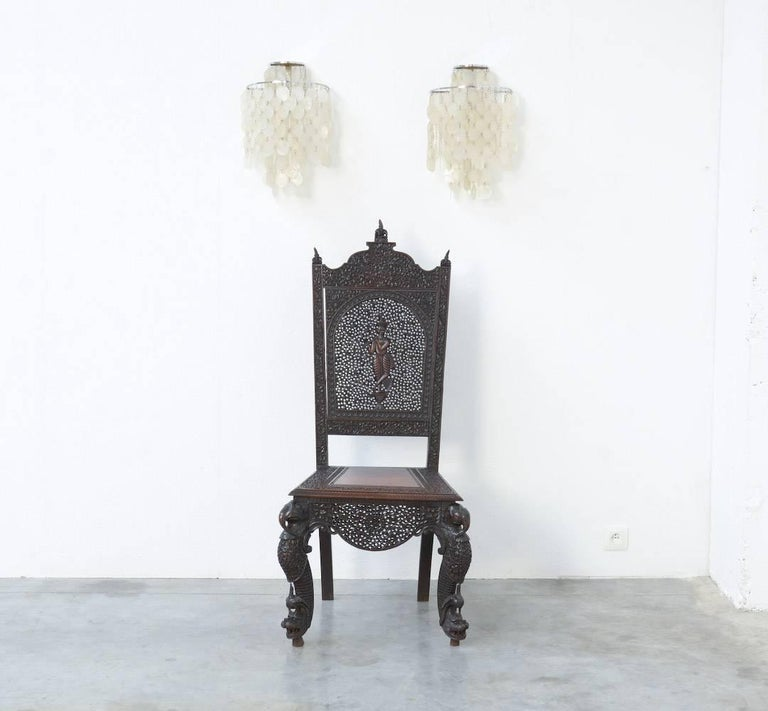 Extraordinary Anglo-Indian Carved Chair For Sale 3