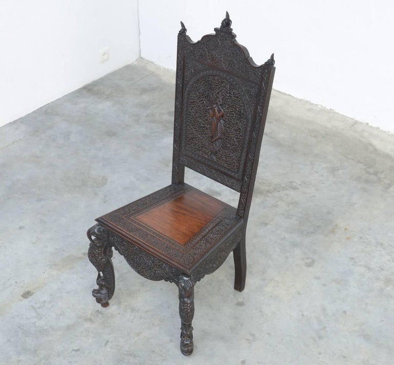 Extraordinary Anglo-Indian Carved Chair For Sale 1