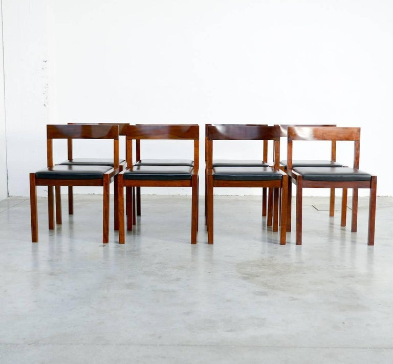 Mid-Century Modern Set of Eight Dining Chairs by Alfred Hendrickx for Belform For Sale