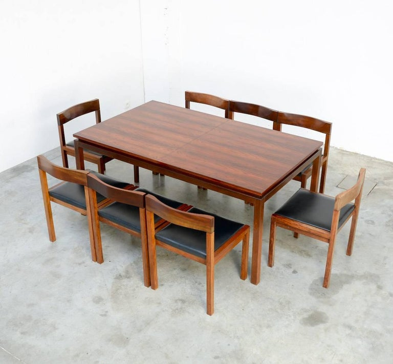Belgian Set of Eight Dining Chairs by Alfred Hendrickx for Belform For Sale