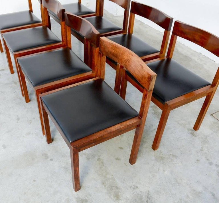 These robust geometric dining chairs are designed by Alfred Hendrickx in the late 1960s for Belform.