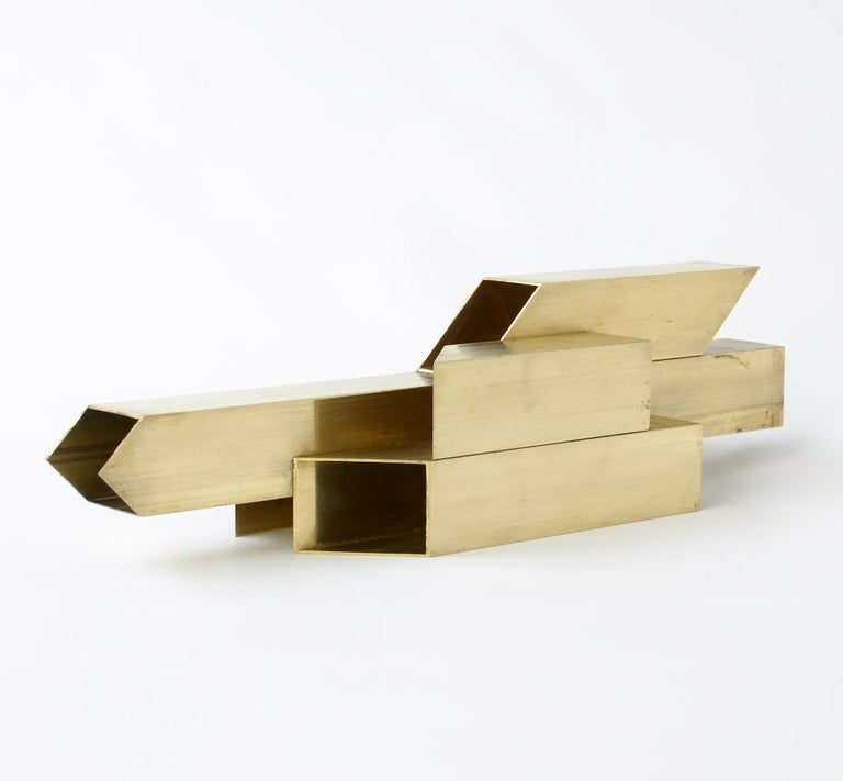 Geometric Brass Sculpture For Sale 4