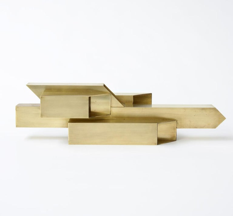 Late 20th Century Geometric Brass Sculpture For Sale