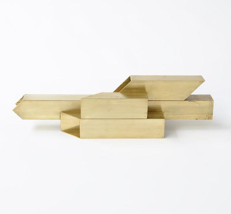 Belgian Geometric Brass Sculpture For Sale