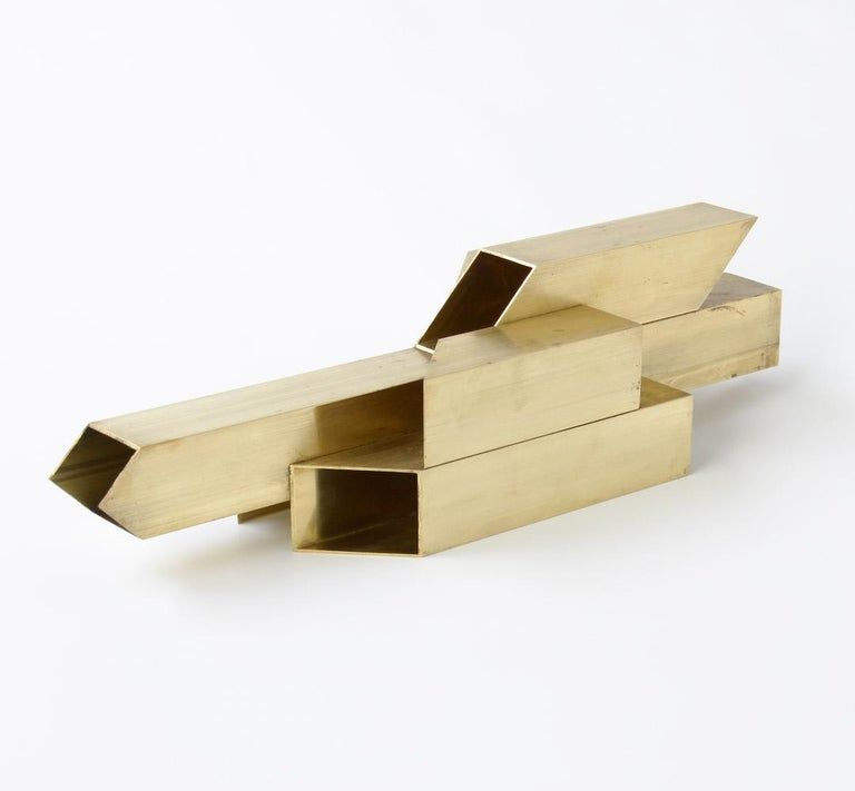 Modern Geometric Brass Sculpture For Sale