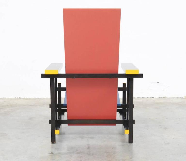 Dutch Red and Blue Chair by Gerrit Rietveld for Cassina For Sale