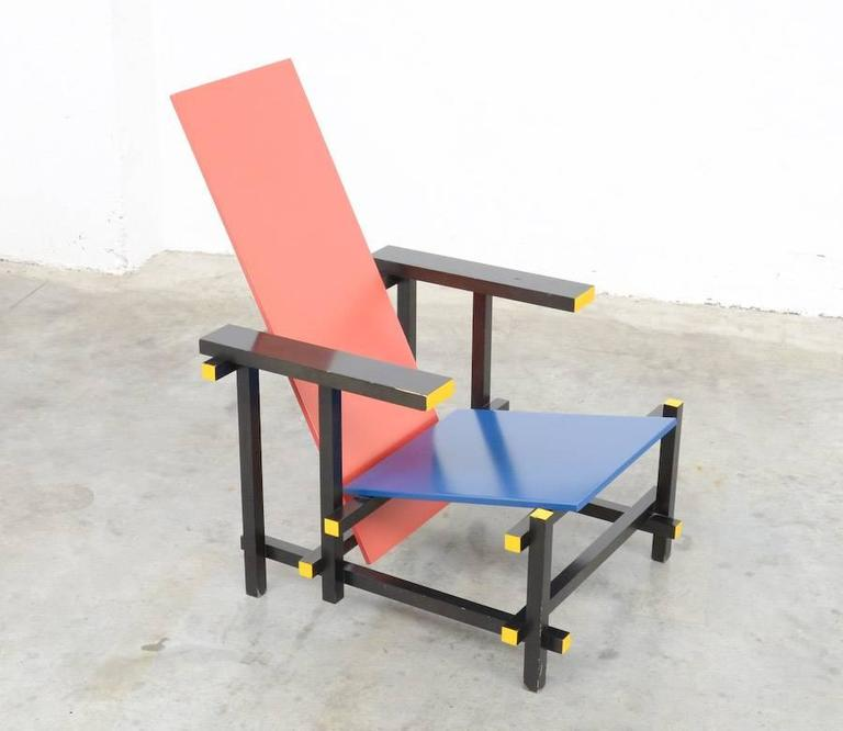 Late 20th Century Red and Blue Chair by Gerrit Rietveld for Cassina For Sale