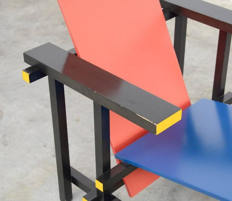 Wood Red and Blue Chair by Gerrit Rietveld for Cassina For Sale